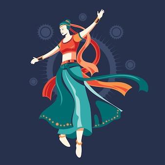 Design der frau, die garba-tanz für festival von indien spielt