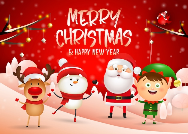 Design der frohen weihnachten auf rotem winterhintergrund