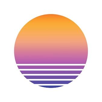 Design der gestreiften kulisse des sonnenuntergangs