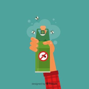 Design der hand, die mückenspray hält