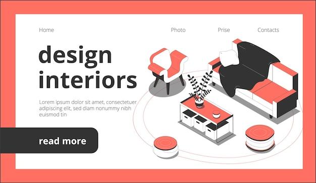 Design der isometrischen landing-website der innenwebseite mit anklickbaren links, schaltflächen und möbelbildern