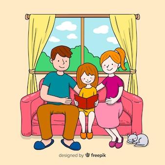 Design der jungen familie zu hause
