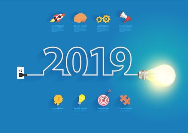 Design der kreativen glühlampeidee 2019 des neuen jahres des vektors
