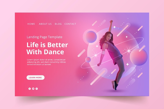 design der landingpage für musik mit farbverlauf