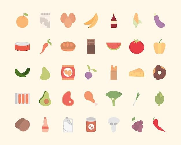 Design der lebensmittelsymbolsammlung des essensrestaurants und der menüthemenillustration