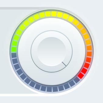 Design der medienbenutzeroberfläche mit rundem volumenbecher und farbenfroher waage