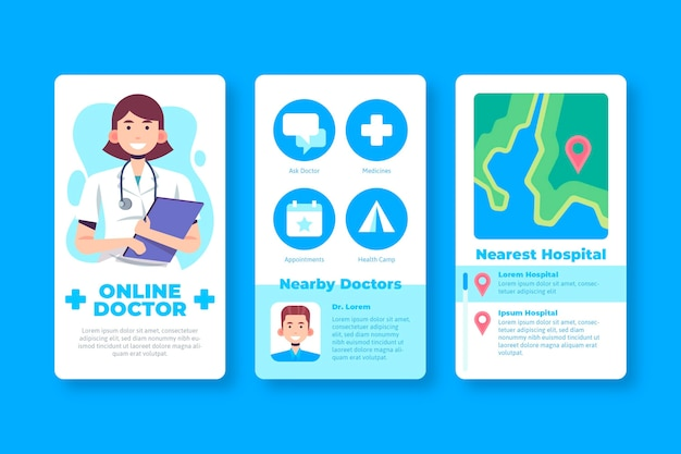 Design der medizinischen buchungs-app