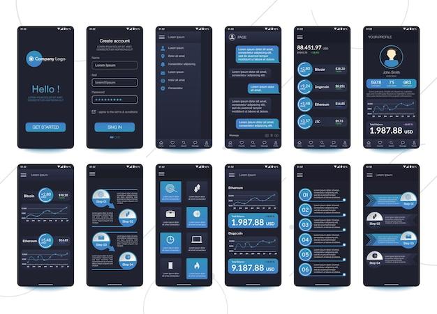 Design der mobilen app cryptocurrency wallet chatroom ui ux gui. satz.