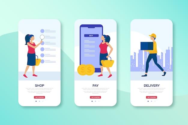Design der mobilen benutzeroberfläche des onlineshops
