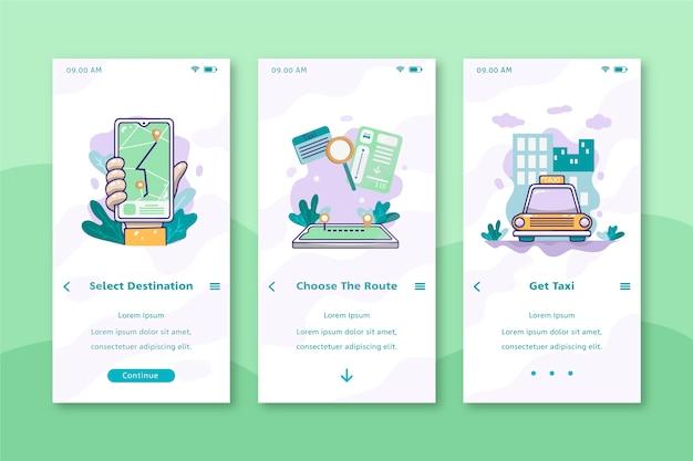 Design der mobilen benutzeroberfläche von cab service