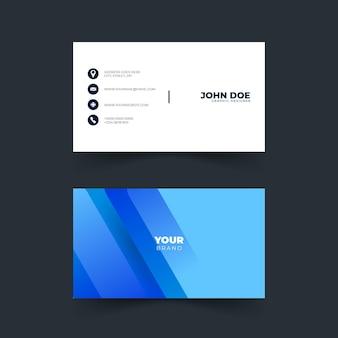Design der modernen visitenkarte mit blauer farbe