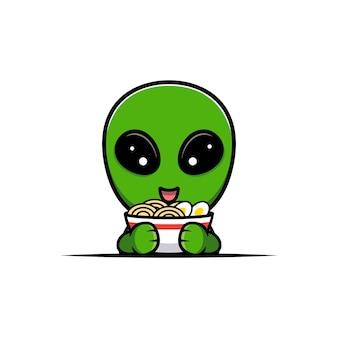 Design der niedlichen alien- und ramen-nudel