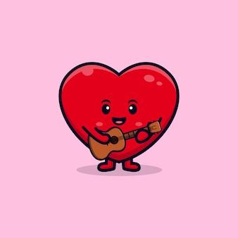 Design der niedlichen herzfigur, die flache maskottchenillustration der gitarre spielt playing