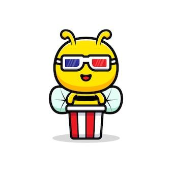 Design der niedlichen honigbiene, die film schaut und popcorn isst.