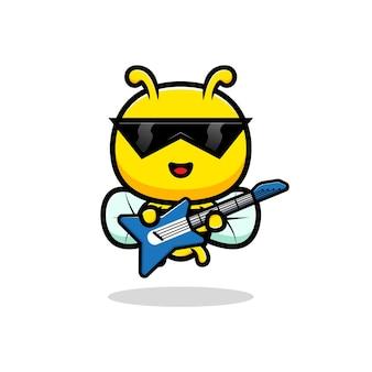 Design der niedlichen honigbiene, die gitarre spielt.