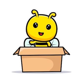 Design der niedlichen honigbiene, die hand innerhalb der box winkt.