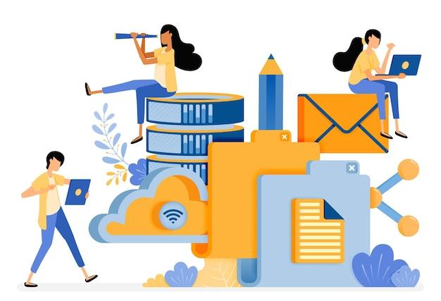 Design der ordner-speichertechnologie für cloud-datenbanken und social media-aktivitäten.