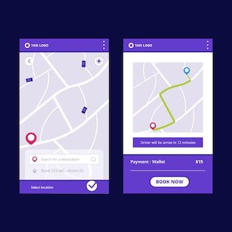 Design der taxi-app-oberfläche