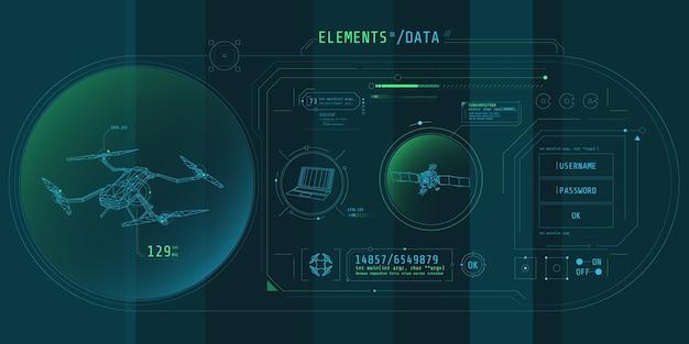 Design der virtuellen schnittstelle des drohnenschutzprogramms.