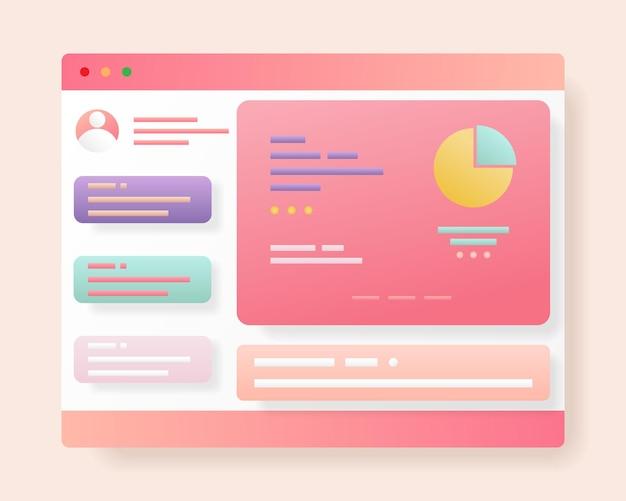 Design der webseitenschnittstelle webdesign und webentwicklungskonzept abbildung zur optimierung der benutzeroberfläche