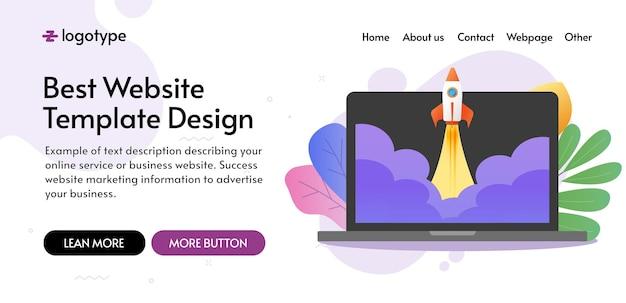 Design der website-vorlage für den start eines neuen unternehmens