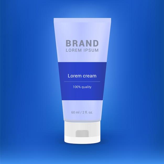 Design der werbung für kosmetikprodukte. weiße rohrschablonen-vektorillustration