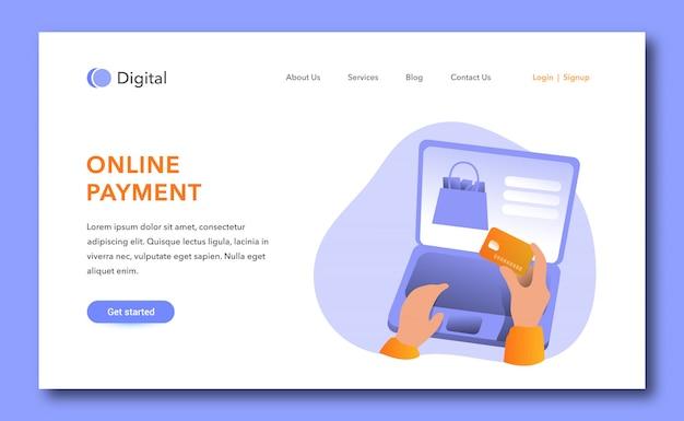 Design der zielseite für die online-zahlung