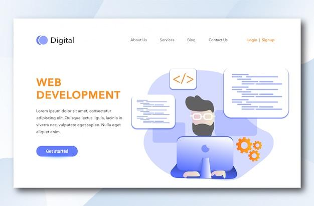 Design der zielseite für die webentwicklung