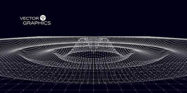 Design des abstrakten konzepts der raumkräuselung. vektorillustration für wissenschaft, technologisches design.