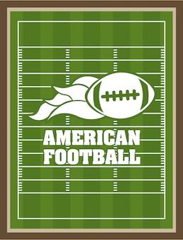 Design des amerikanischen fußballs über grünem neigungshintergrund