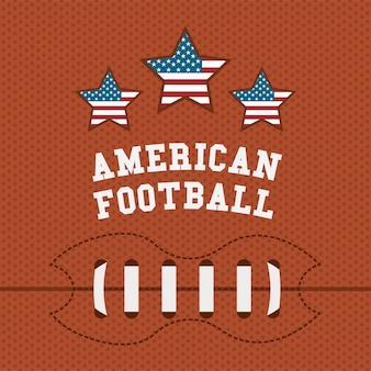 Design des amerikanischen fußballs über orange hintergrund