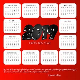 Design des kalenders 2019 mit rotem hintergrundvektor