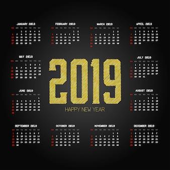 Design des kalenders 2019 mit schwarzem hintergrundvektor