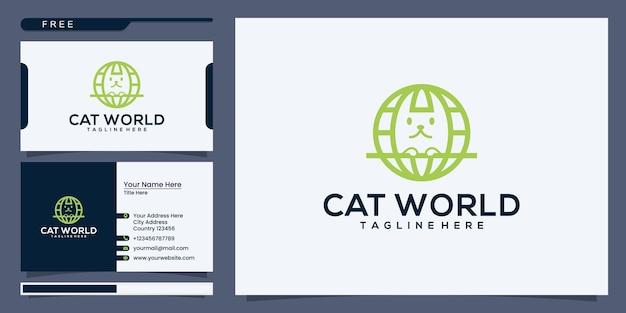 Design des logos der katzenwelt. planet cat logo-design und visitenkarte
