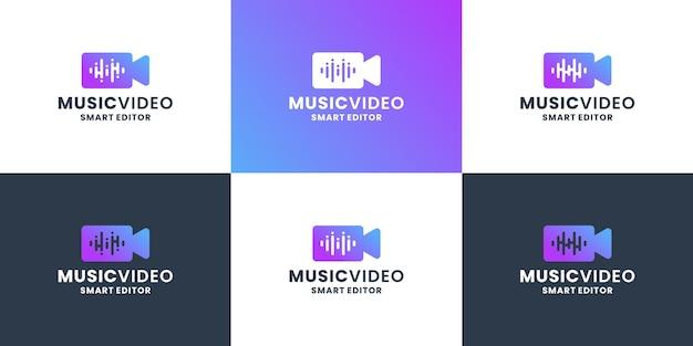 Design des musikvideo-logos. musikwellen-equalizer kombiniert mit kamera für cutter und filmregisseur