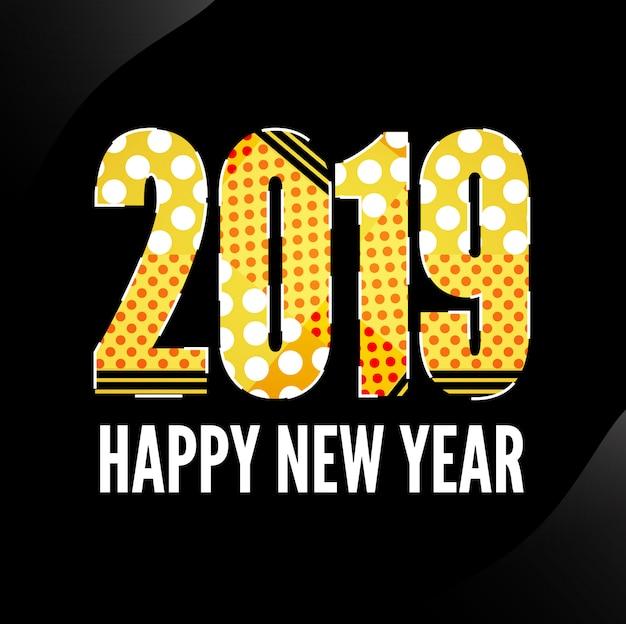 Design des neuen jahres 2019 von memphis mit schwarzem hintergrund