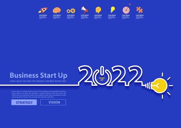 Design des neuen jahres 2022 mit kreativer glühbirnenidee, inspirationsgeschäftsstartplan, vektorillustration modernes design-layout-vorlage