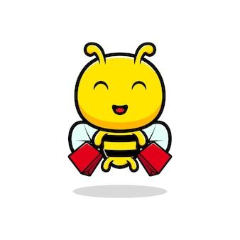 Design des niedlichen honigbieneneinkaufs.