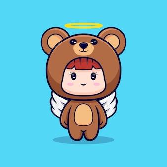 Design des niedlichen mädchens, das bärenkostüm trägt, haben flügel