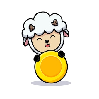 Design des niedlichen schaf-popups hinter der goldmünze
