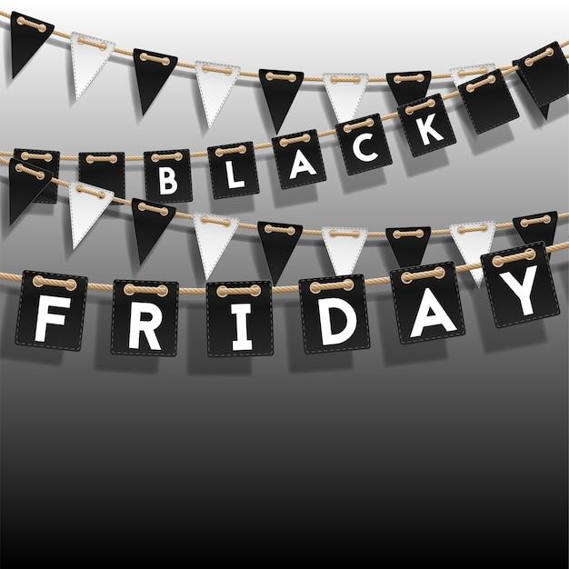 Design des plakats des black friday-verkaufs. hintergrund des verkaufs mit schwarzweiss-girlande mit flaggen und platz für text.