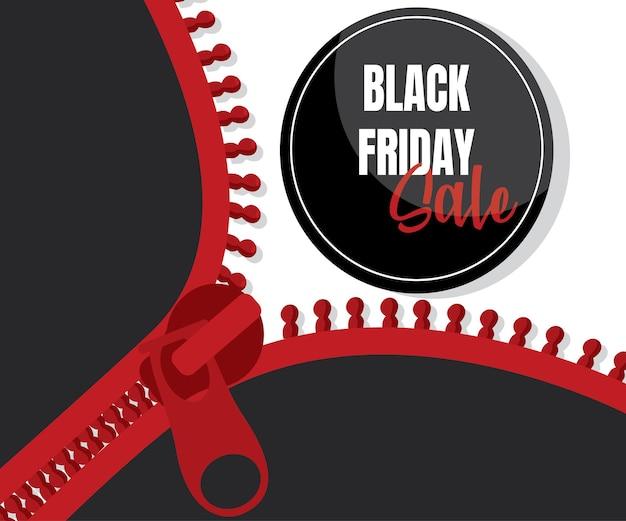 Design des reißverschlussvektorbanners mit kreis für den verkauf am schwarzen freitag. schwarze tag-vorlagen mit sonderangeboten zum kauf, strichen und elementen.drucken