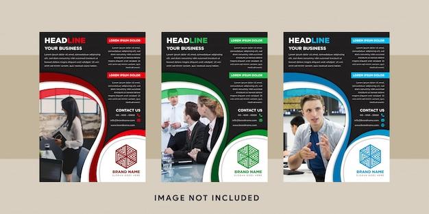 Design des schwarzen hintergrunds mit rotem, grünem und blauem elementdesign des flyers. platz für bild oder foto auf der linken seite.