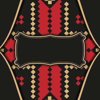 Design einer postkarte in schwarz mit slowenischen mustern. einladungskartendesign mit platz für ihren text und vintage-ornamente.