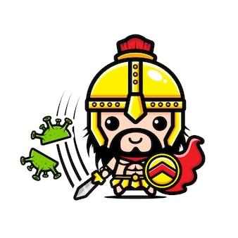 Design eines gladiators gegen ein coronavirus