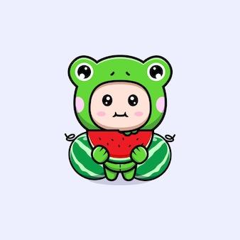 Design eines süßen jungen mit froschkostüm, der wassermelonenfrüchte isst