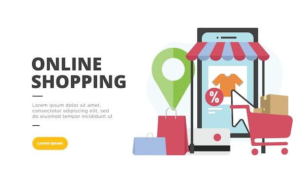 Design-fahnenillustration des onlineeinkaufs flache
