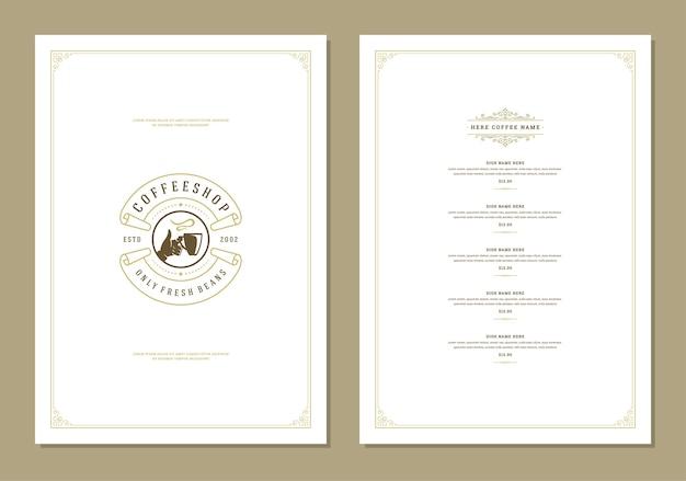 Design-flyer für kaffeemenüschablonen für bar oder café
