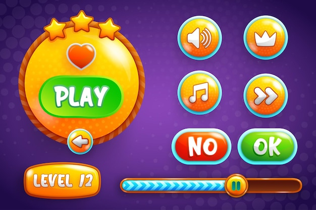 Design for kompletter satz von level-button-popups, symbolen, fenstern und elementen zum erstellen mittelalterlicher rpg-videospiele