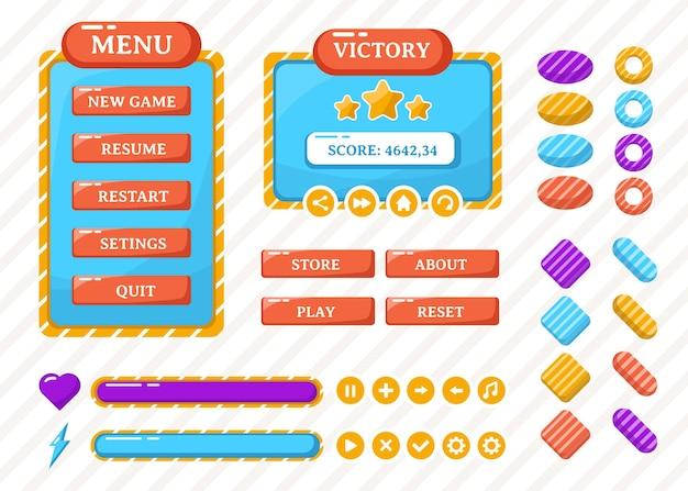 Design for kompletter satz von popup-spielen, symbolen, fenstern und elementen für das erstellen mittelalterlicher rpg-videospiele